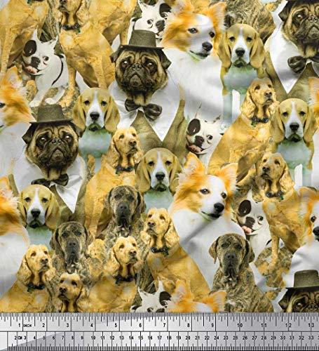 Soimoi Yellow Crepe Silk Fabric Pug,Beagle & English Cocker Spaniel Dog Scene Printed Craft Fabric by The Yard 42 Inch Wide ()