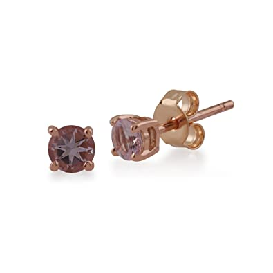 4df64a592 Gemondo Women 375 Gold 9ct Rose Gold Round Morganite Classic Claw Set Stud  Earrings Pink 3.50mm: Amazon.co.uk: Jewellery