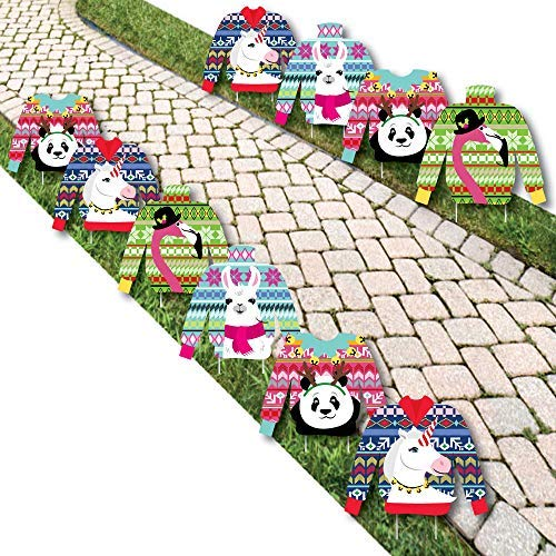 Wild and Ugly Sweater Party - Sweater Lawn Decorations - Outdoor Holiday and Christmas Animals Party Yard Decorations - 10 Piece