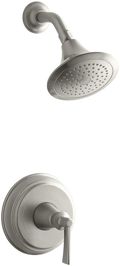 Brushed Nickel Kohler Shower Faucets.Kohler Ts11078 4 Bn Archer R Rite Temp R Shower Valve Trim With Lever Handle And 2 5 Gpm Showerhead 1 Vibrant Brushed Nickel