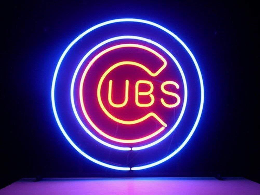 Queen Sense 14''x14'' Chicago Cub Neon Sign Light Beer Bar Pub Man Cave Real Glass Lamp DE07