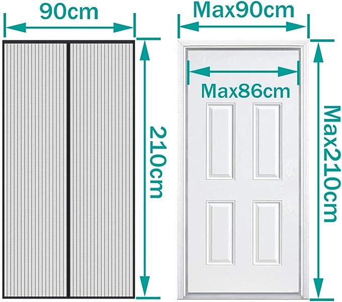 Cierre Automaticamente Evita Paso de Insectos con Malla Super Fina para Dejar Pasar el Aire Fresco negro Auxmir Cortina Mosquitera Magnetica para Puertas 90x210cm