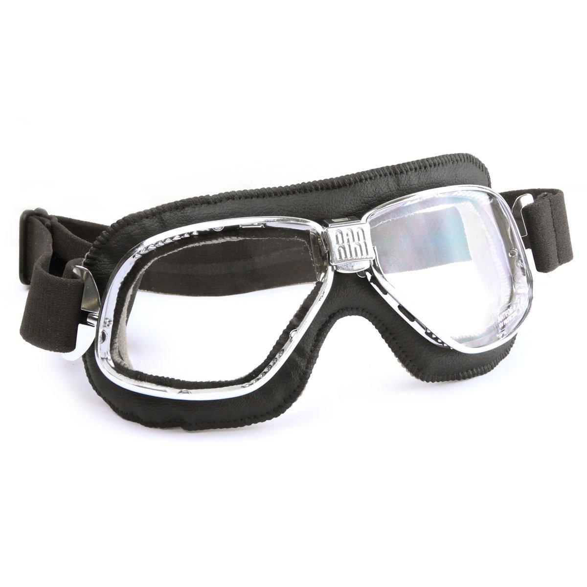 Halcyon Nannini Cruiser moto occhiali con vera pelle nera Face Pad e montatura in metallo –  Made in Italy