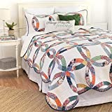 2pc White Patchwork Twin Size Quilt Set, Circles Ivory, Cotton, Polyester, Wedding Ring Themed Blue Green Red, Floral Scalloped Edge Yellow Flowers Country French Sabby Chic