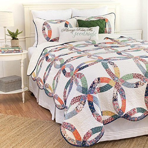 2pc White Patchwork Twin Size Quilt Set, Circles Ivory, Cotton, Polyester, Wedding Ring Themed Blue Green Red, Floral Scalloped Edge Yellow Flowers Country French Sabby Chic by Unknown