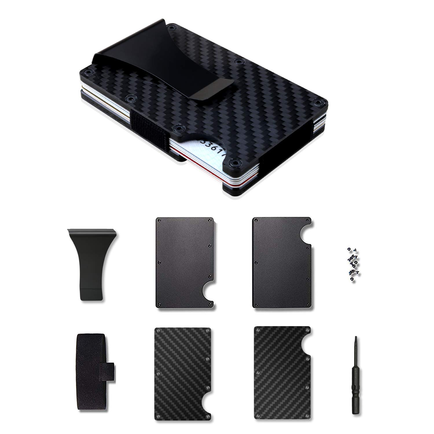 Carbon Fiber Wallet + Business Card Case Gift Set - RFID Blocking Slim Money Clip and Business Card Holder - Minimalist Credit Card Holder Organizer Protector Front Pocket Metal Money Clip for Men