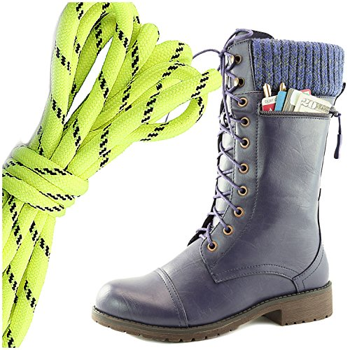 DailyShoes Womens Combat Style Lace up Ankle Bootie Round Toe Military Knit Credit Card Knife Money Wallet Pocket Boots, Neon Yellow Black Purple Pu