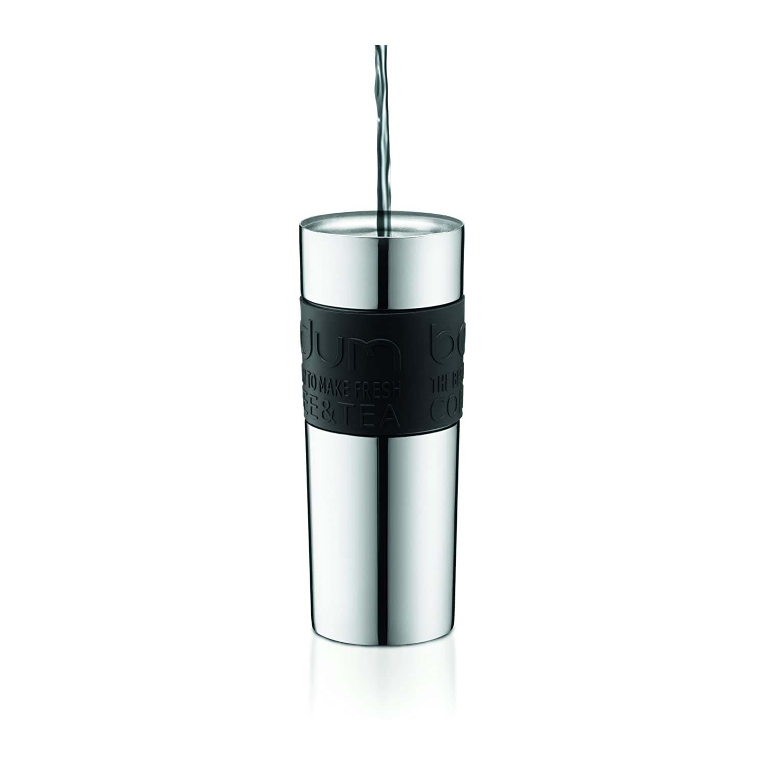 15 Ounce Bodum Travel Press Coffee and Tea Press Stainless Steel Insulated Travel Press Red 11057-294BUS