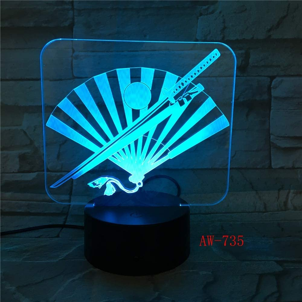 Japón Cuchillo y ventilador 3D LED Lámpara 7 Color Led Lámparas de ...