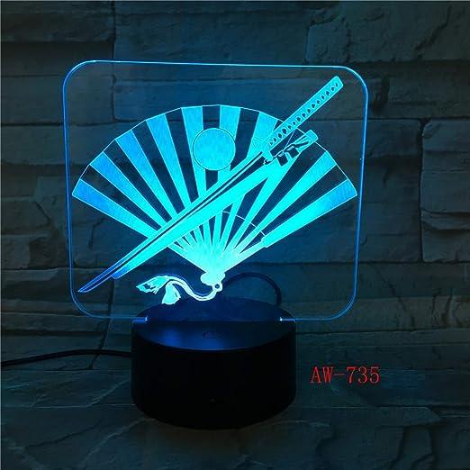 Japón Cuchillo y ventilador 3D LED Lámpara 7 Color Led Lámparas de ...