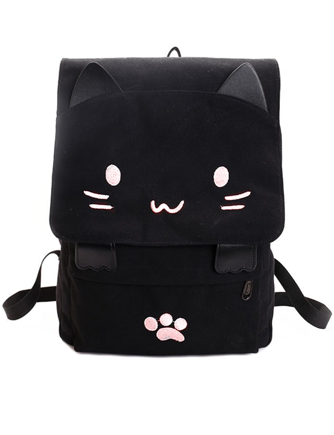 84d47a8685eb jjai Black College Cute cat Embroidery Canvas School Laptop Backpack Bags  for Women Kids Plus Size Japanese Cartoon Kitty paw Schoolbag ruchsack  Girls Boys ...