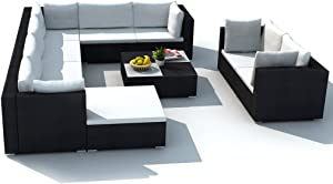 Festnight 10 Piece Patio Rattan Sofa Set Garden Sectional Sofa Conversation Set with Coffee Table and Ottoman Outdoor Furniture
