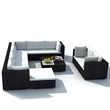 Festnight 32-tlg. Gartensofa Set mit 1 Teetisch Gartenlounge Garten ...