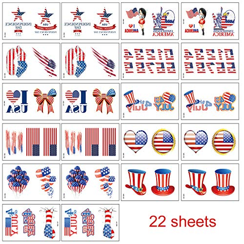Dream Loom Fourth of July Tattoos for Independence Day,22 Sheets for Party Supplies]()