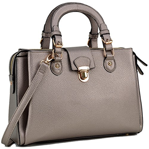 Dasein Women's Designer Pebbled Top Handle Satchel Handbag Shoulder Bag Work Bag Purse With Strap (Pewter New) (Handbags New Designer)