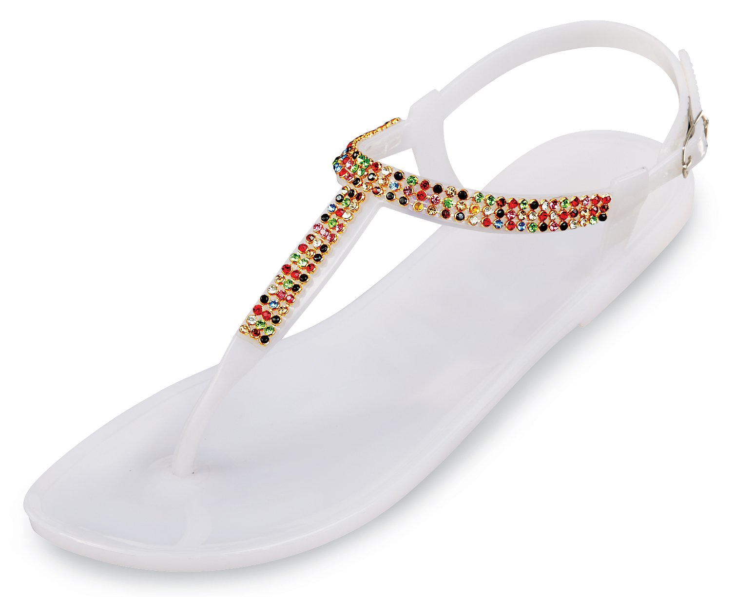 Rhinestone Flip Flops - Jelly Thong Sandals 7 B(M) US