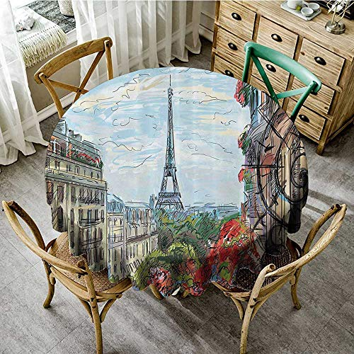 familytaste Picnic Round Covers Paris City Decor Collection,Street in Paris Town Traffic Trees Downtown Urban Life Exterior Monument Scene Print,Red Green Blue D 36