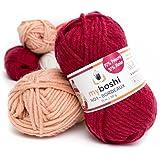 Myboshi (135 bordeaux) Merino Wolle / Acrylgarn No. 1 zum stricken, häkeln und für die Handarbeit (55m/50gr)