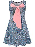 Bonny Billy Baby Girls Backless Bow Cotton Summer Flared Dress 2-6x Blue
