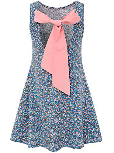Bonny Billy Little Girls Backless Bow Cotton Summer Flared Dress 4-5 Yrs Blue