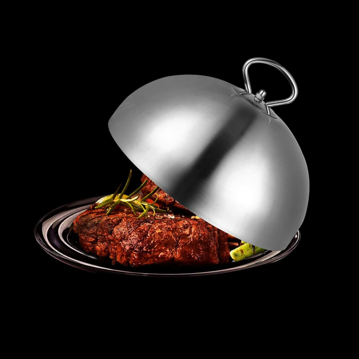 Cabilock Edelstahl Speiseglocke Tellerglocke 24cm Topfdeckel Topf Teppanyaki Deckel Steak Abdeckhaube Burgerhaube Schmelzkuppel Fliegenhaube K/äse Haube f/ür Cheesburger Hamburger Glocke