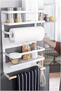 Kitchen Rack - Magnetic Fridge Organizer - 18.1x11.8x4.4 INCH - Paper Towel Holder, Rustproof Spice Jars Rack, Plastic Wrap holder, Refrigerator Shelf Storage Including 5 Removable Hook- 201 (White)