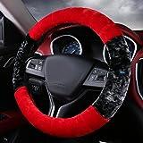 NIKAVI Fur Car Steering Wheel Cover (RED)