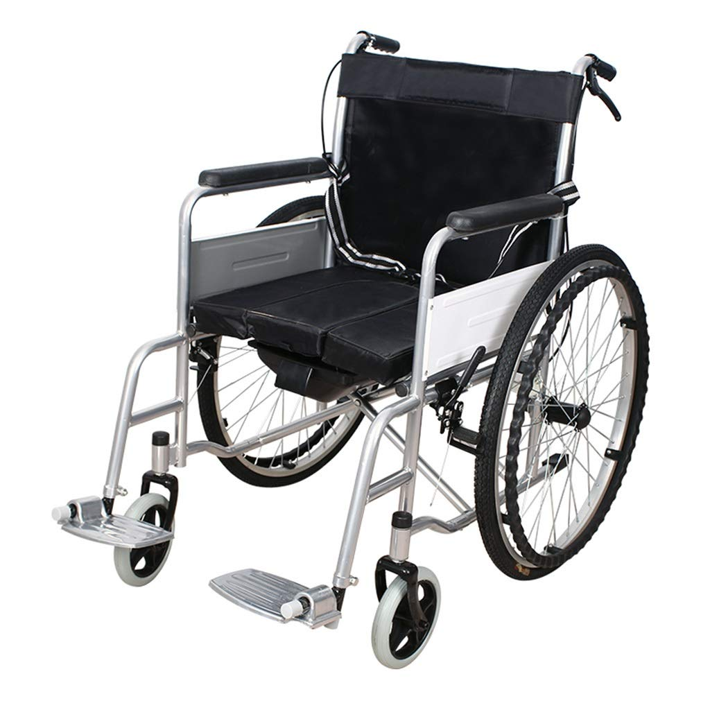 MLX Manual Wheelchair, Disabled Wheelchair, Walking Trolley, Steel Frame Four Brake System, Suitable for Disabled People with Legs and Feet by MLXCY