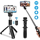 Oladwolf Bluetooth Selfie Stick, 3 in 1 Extendable Mini Pocket Monopod 360° Rotation for 3.5-6 inch Screen Smartphones Universal