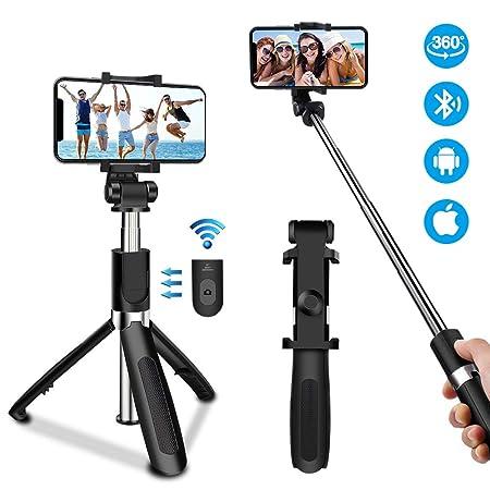 Oladwolf Bluetooth Selfie Stick Stativ, 3 in 1 ausziehbares Mini Pocket Monopod 360° -Drehung mit drahtloser Fernbedienung fü