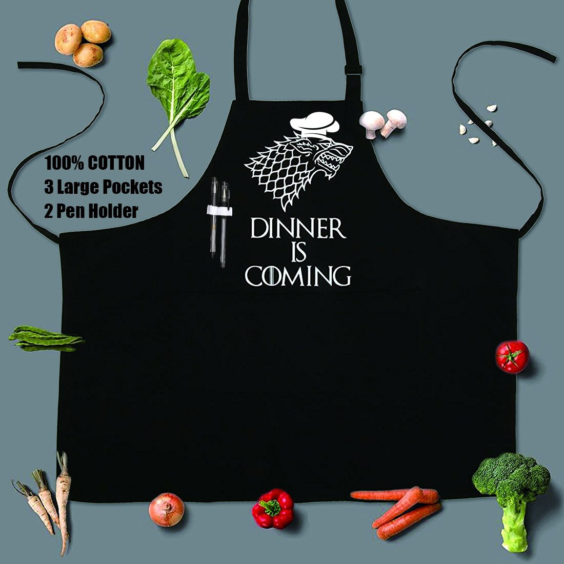 Grill Aprons Kitchen Chef Bib - Famgem Dinner is Coming Professional for BBQ, Baking, Cooking for Men Women / 100% Cotton, Adjustable 3 Pockets, Black by Famgem (Image #4)