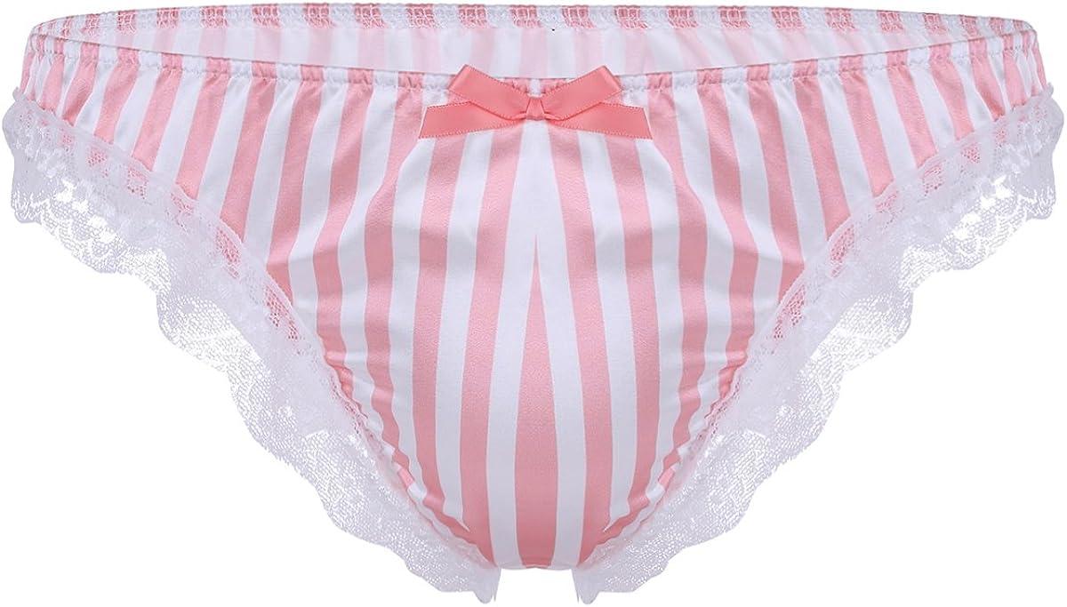 YiZYiF Men's Silk Satin Frilly Striped Print High Gloss Underwear Shiny Sissy Panties