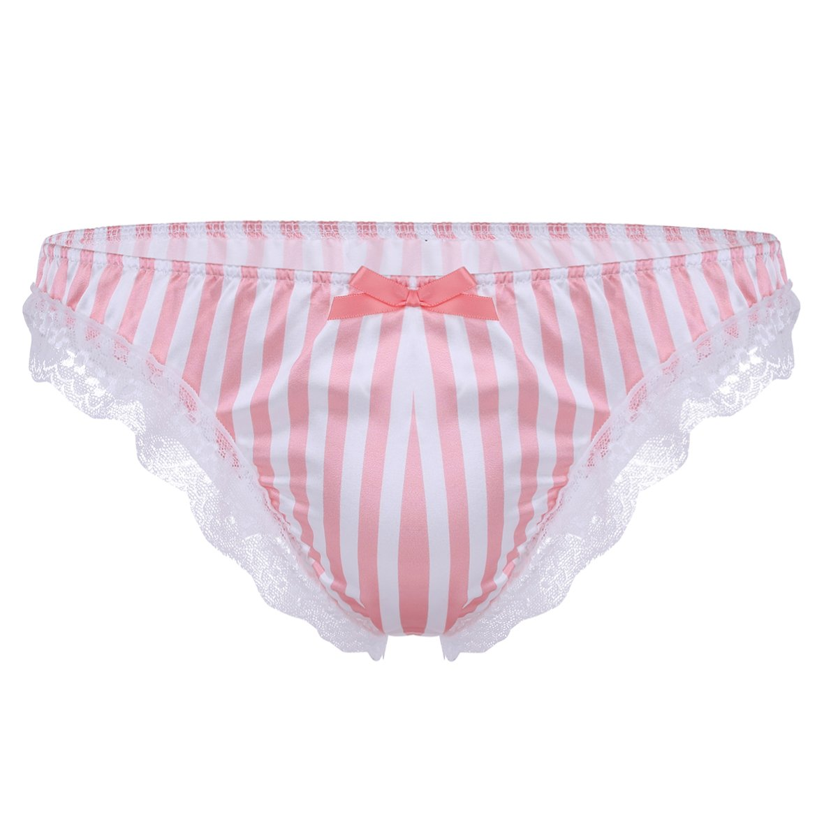 cf24eaeded Galleon - MSemis Men s Silk Satin Ruffle Frilly Sissy Bugle Pouch Bikini  Briefs Thongs Underwear Crossdress Panties Pink Stripes Medium (Waist  27.5