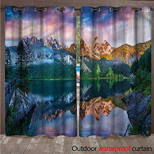 (cobeDecor Mountain Outdoor Balcony Privacy Curtain Gosausee Austrian Alps W72 x L108(183cm x 274cm))