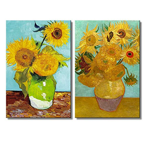 Wall26 - Sunflowers by Vincent Van Gogh - Oil Painting Reproduction in Set of 2 | Canvas Prints Wall Art, Ready to Hang - 16