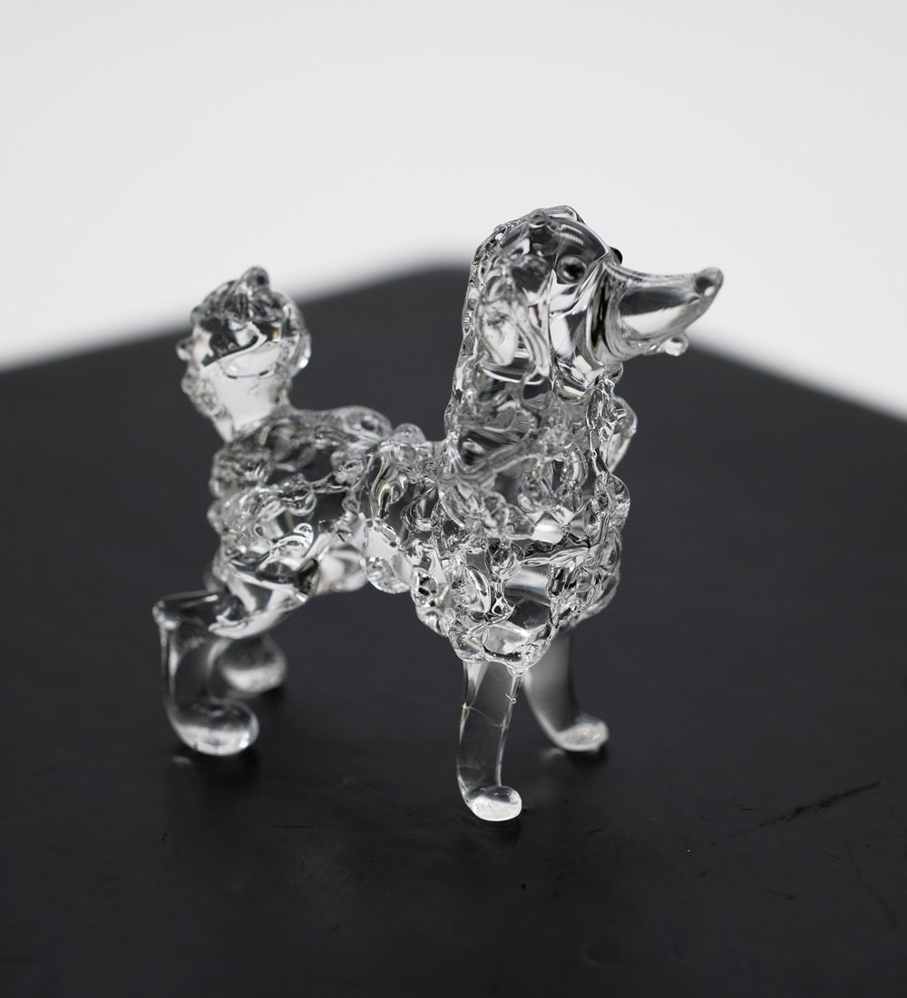 3 D Crystal Toy Poodle Dog Hand Bowl Glass Dollhouse Miniatures Decoration