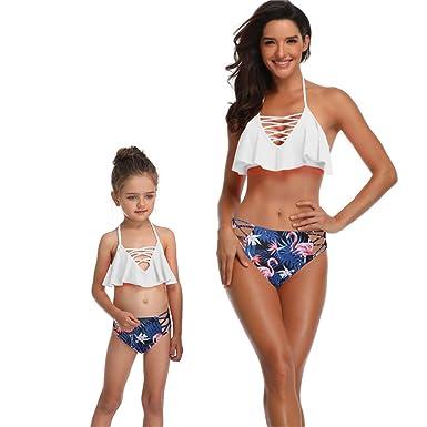 1e8b9fb455 Berax 2019 mère Fille Maillot de Bain Parent-Enfant Maillot de Bain à  Volants Taille Haute imprimé Bikini Set Famille Maillots de Bain Bikini  bébé Fille: ...