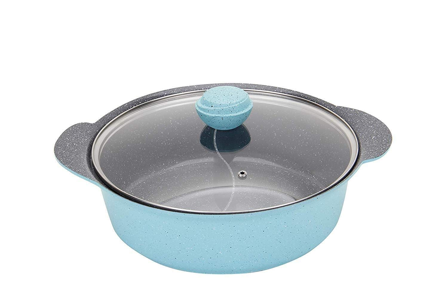 ZPWSNH Yin and Yang Hot Pot, Natural Non-Stick Household Professional Kitchen Utensils, Suitable for All Major Hobs Barbecue Pot (Color : Blue) by ZPWSNH