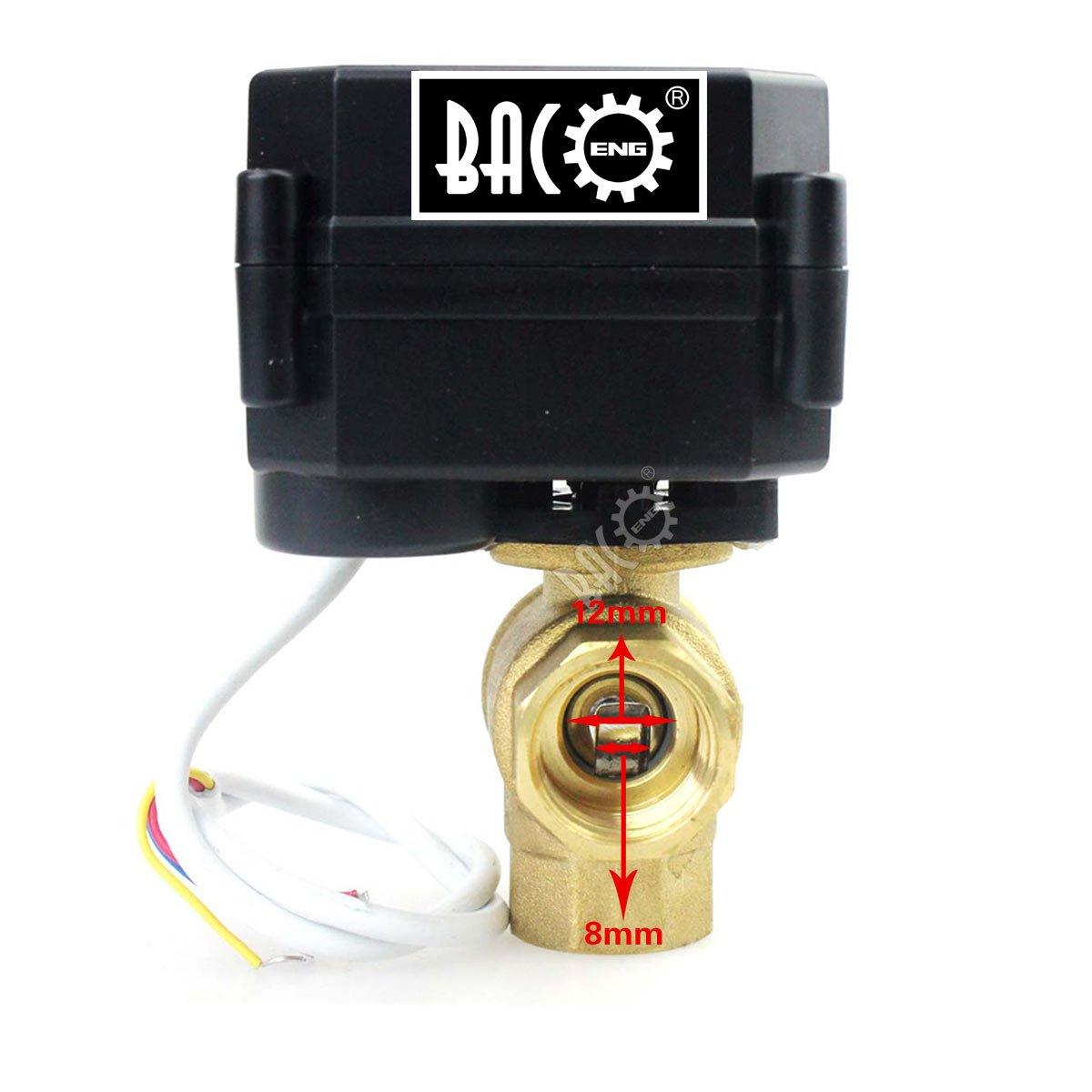 BACOENG Vanne 2 voies motoris/ée 1//2 DN15 Laiton AC//DC9-24V CR04 normalement ferm/ée