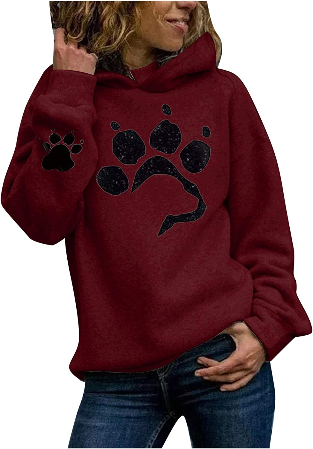 Jiayit Women's Fall Tops Casual Cat Paw Print Long-Sleeved Pullover Hooded Thin Fleece Winter Coat Sweater Womens Tops and Blouses for Outdoor Indoor