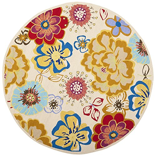 Safavieh Four Seasons Collection FRS467B Hand-Hooked Ivory and Multi Indoor/ Outdoor Round Area Rug (4' Diameter)