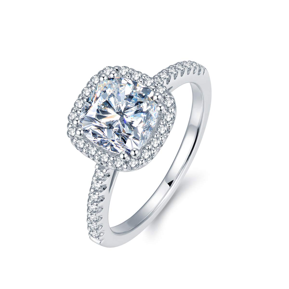 2.5ct Cushion Cut Cut Petite Micropave Floating Halo Simulated Diamond Cubic zirconia CZ Engagement Rings for Women, 3.26ctw (7.5)