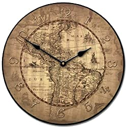 16th Century Parchment Map Wall Clock, Available in 8 Sizes, Most Sizes Ship 2-3 Days, Whisper Quiet.