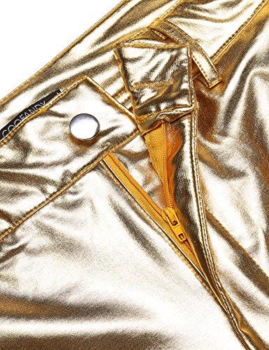 COOFANDY Mens Metallic Shiny Jeans Party Dance Disco Nightclub Pants Straight Leg Trousers