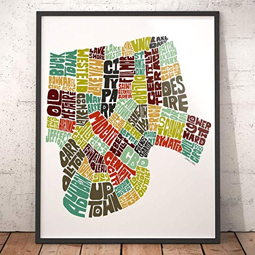 (New Orleans Neighborhood Map Art Print, signed print of my original hand drawn New Orleans typography map art )