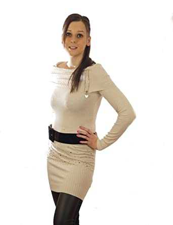 af30d09f63 Long Jumper with Studs Sweater Longsleeve 1 Size - Beige - One size:  Amazon.co.uk: Clothing