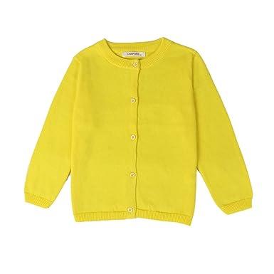 70f6ca95fa3ea Amazon.co.jp: LittleSpring キッズ スクール カーディガン 無地 長袖ニット アウター 子供服 男の子 女の子  服 &ファッション小物