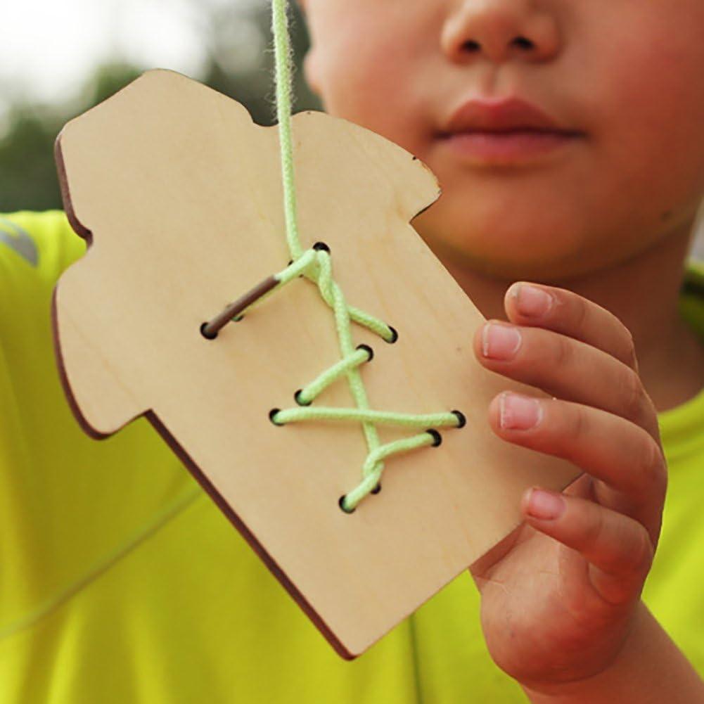Green Kalaokei Boys Girls Manual Threading Sewing Buttons Board Games Kindergarten Kids Toys