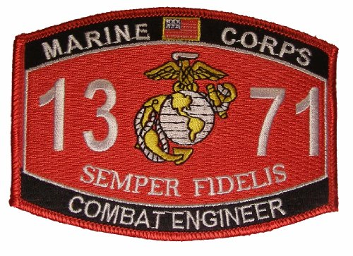 (United States Marine Corps MOS 1371 Combat Engineer MOS Military Patch - Veteran Owned Business)