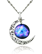 Galaxy & Crescent Cosmic Moon Pendant Necklace Purple Glass 17.5'' Chain Great Gift for Women